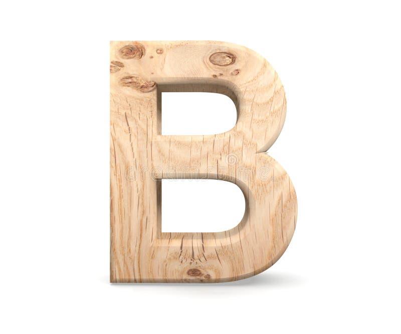 3D alfabeto di legno decorativo, lettera maiuscola B immagine stock