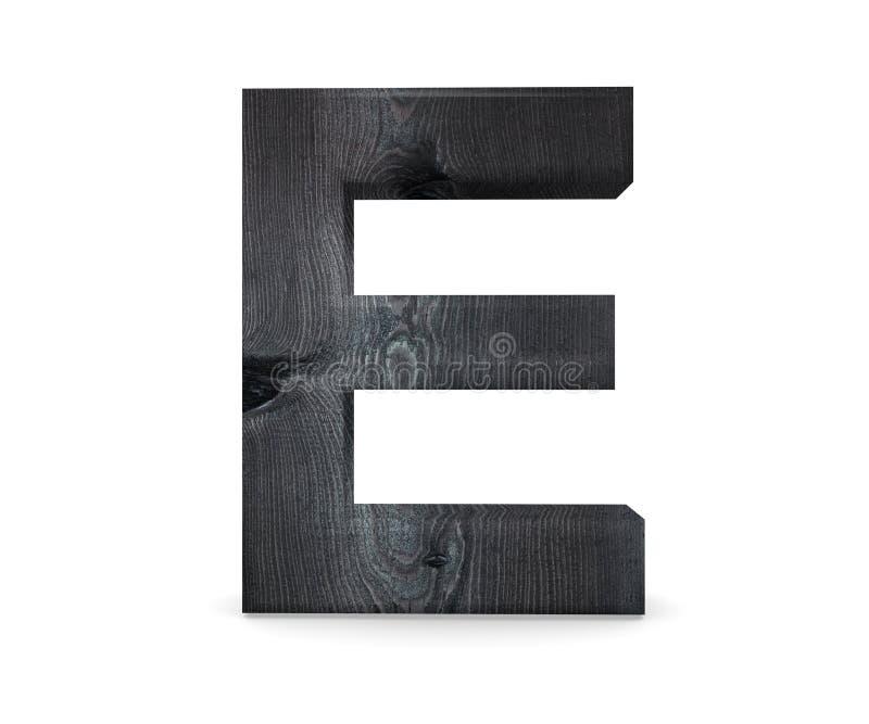 3D alfabeto di legno decorativo, lettera maiuscola E immagini stock libere da diritti