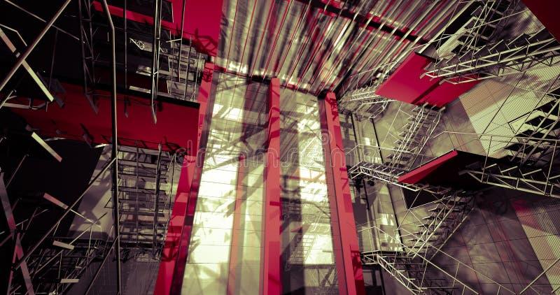 3d all'interno. Interno industriale moderno, scale, spazio pulito dentro i illustrazione vettoriale