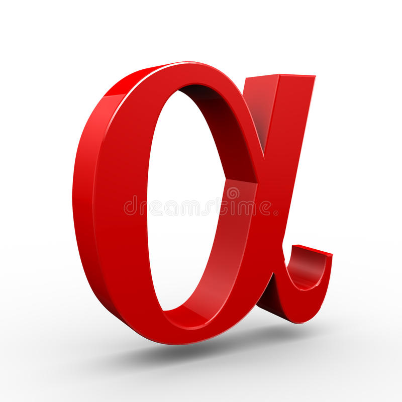 3d alpha symbol. 3d illustration of red alpha symbol sign on white background stock illustration