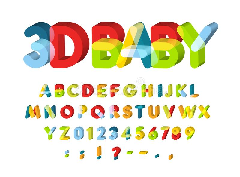3D Alphabet for Baby Zone decoration. Kids zone vector font. Caolorful funny 3D letters with softed corners. Back to royalty free stock images