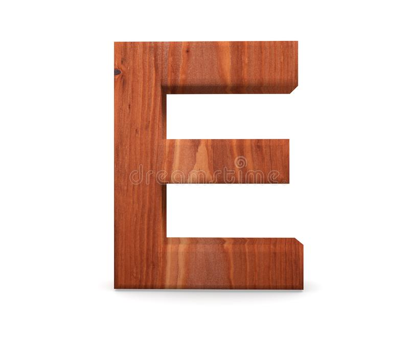 3D alphabet en bois décoratif, majuscule E image libre de droits