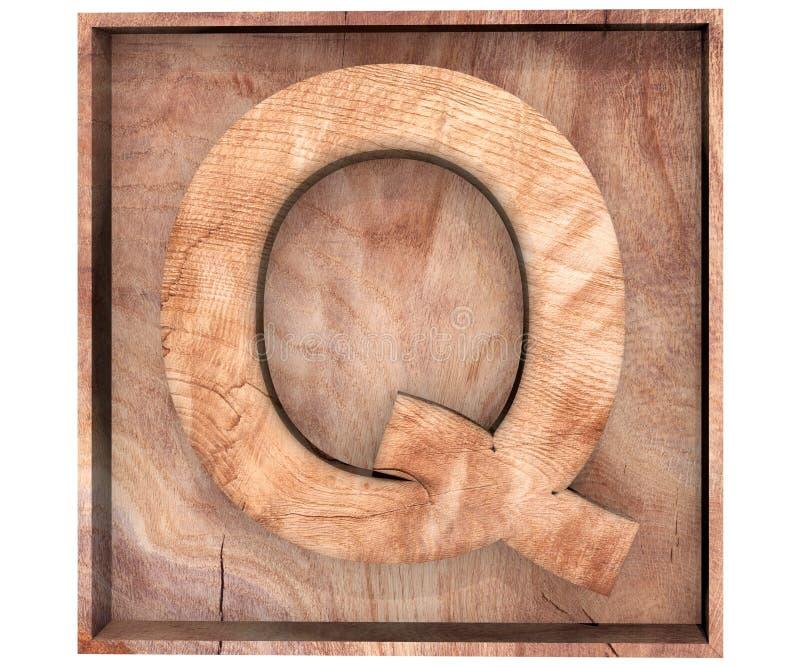 3D alphabet en bois décoratif, majuscule Q dans la boîte en bois illustration de vecteur