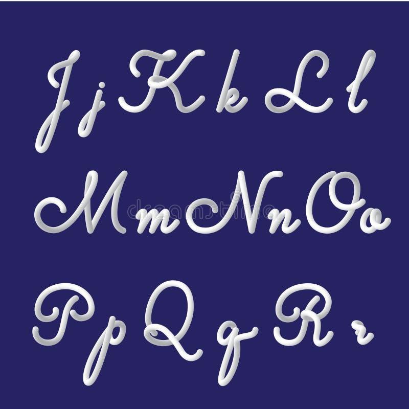 3d alphabet and font set with handwritten letters j, k, l, m, n, o, p, q, r. Modern futuristic gradient typeface. Hand drawn lette vector illustration