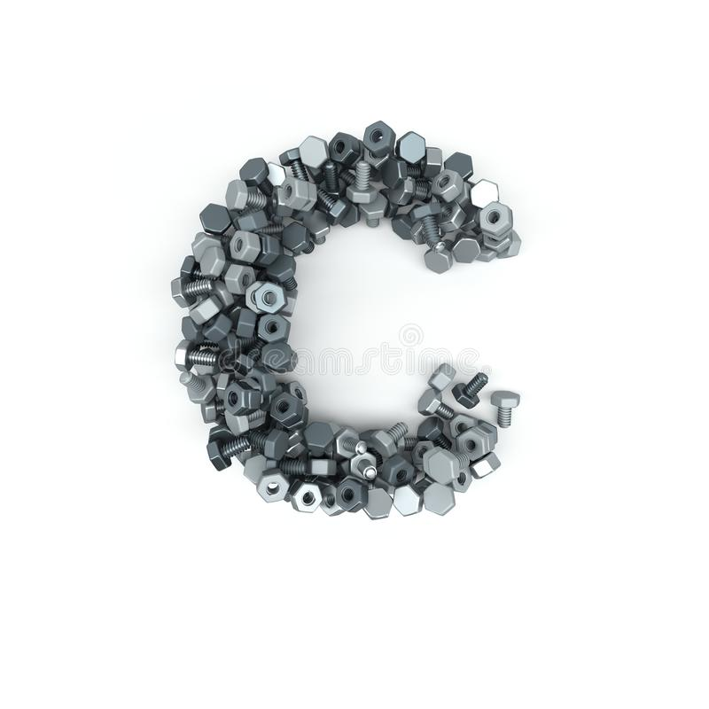 3D Alphabet Letter of nuts and bolts royalty free illustration