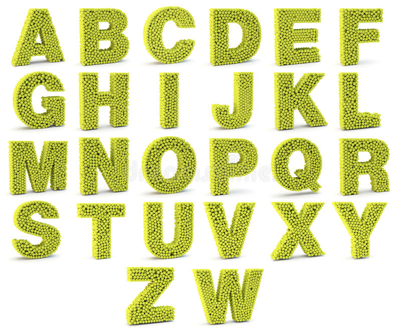 3D alphabet letters made from tennis balls royalty free illustration