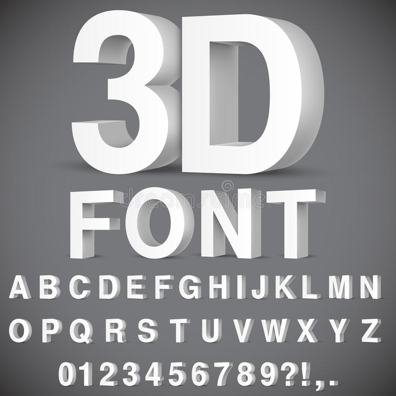3D Alphabet and Numbers. Full alphabet of 3d white letters and numbers royalty free illustration