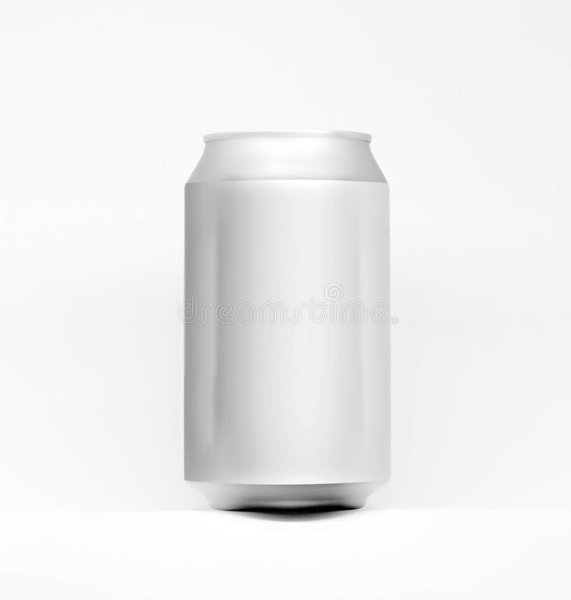3D aluminium can mock up for 330ml. Ideal for beer, lager, alcohol, soft drinks, soda, fizzy pop, lemonade, cola, energy drink, ju. 3D aluminium can mock up for royalty free stock photo
