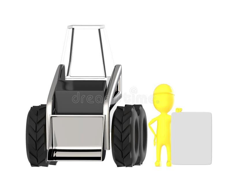 3d amarelam o caráter, homens do trabalho que apresentam uma placa vazia ao estar próximo a uma máquina escavadora ilustração stock