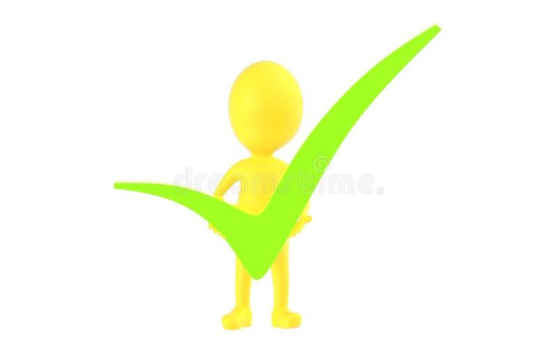 3d amarelam o caráter que guarda um tiquetaque verde em suas mãos ilustração stock