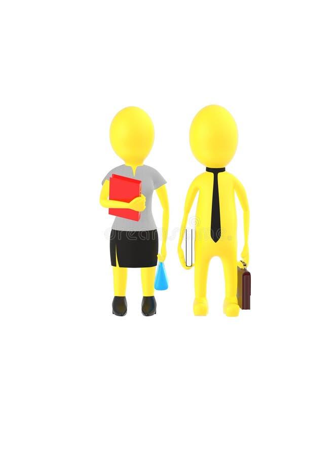 3d amarillean al varón del carácter y la hembra que lleva el vestido formal y que sostiene brefcase, el libro y el bolso, archiva libre illustration