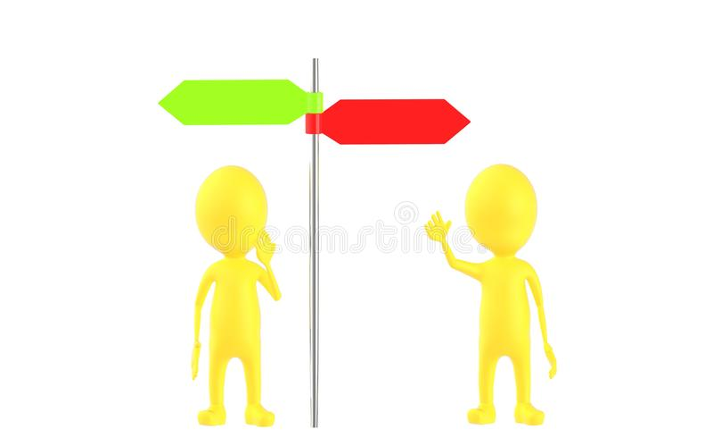 3d amarillean el carácter, dos caracteres que se colocan delante de posts de la señal de dirección stock de ilustración