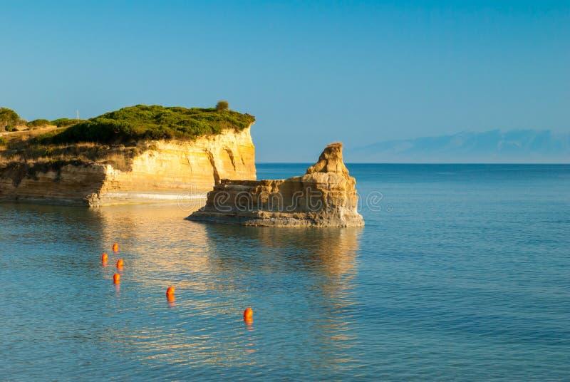D'amour Sidari do canal, ilha de Corfu em Grécia Canal de amor imagens de stock