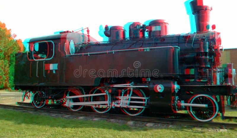 3D, anaglyph. Black old locomotive. 3D, anaglyph. vintage steam locomotive, black old locomotive, Hungary 2019 stock image