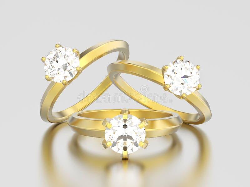3D anelli di diamante del solitario di impegno dell'oro dell'illustrazione tre illustrazione vettoriale