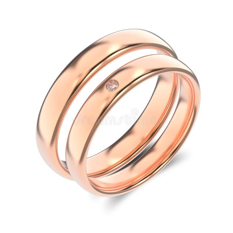 3D anelli di oro rosa del classico dell'illustrazione due con il diamante su un wh royalty illustrazione gratis