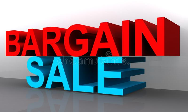 Bargain sale. 3D angled words BARGAIN in red on top and SALE in blue on the bottom stacked on top of one another on a gray reflective base and white background vector illustration