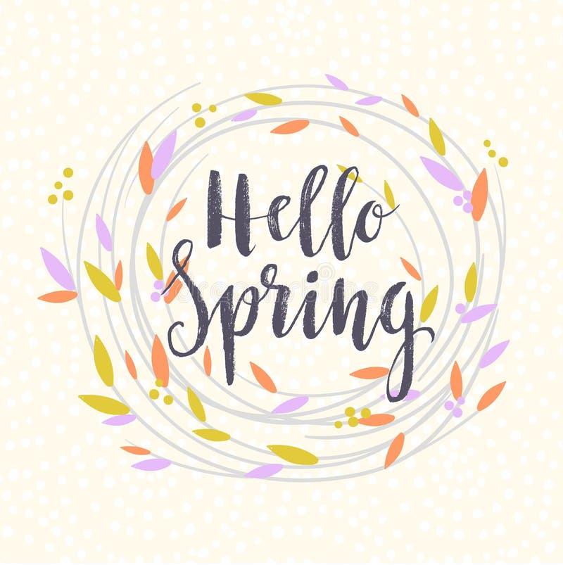` D'annata della primavera del ` dell'iscrizione ciao nella corona Illustrazione di vettore illustrazione vettoriale