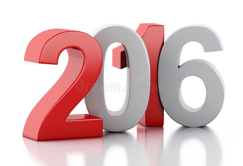 3d ano novo 2016 ilustração do vetor