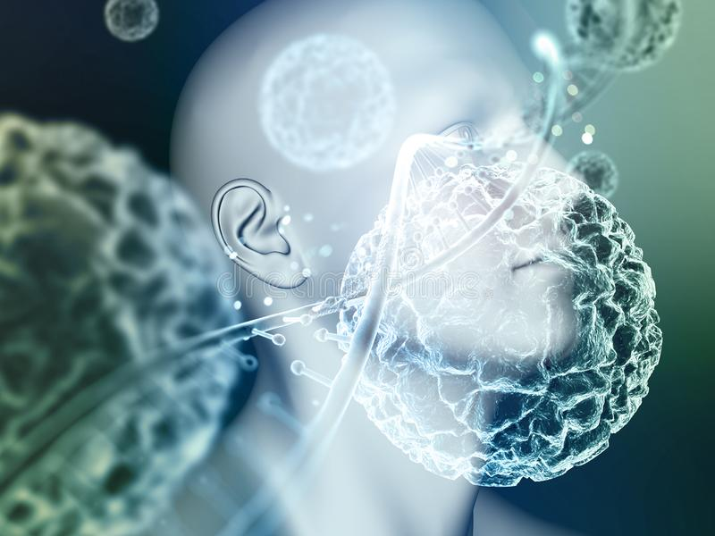 3d antécédents médicaux avec la tête masculine au-dessus de la fermeture des cellules virales et du brin ADN illustration de vecteur