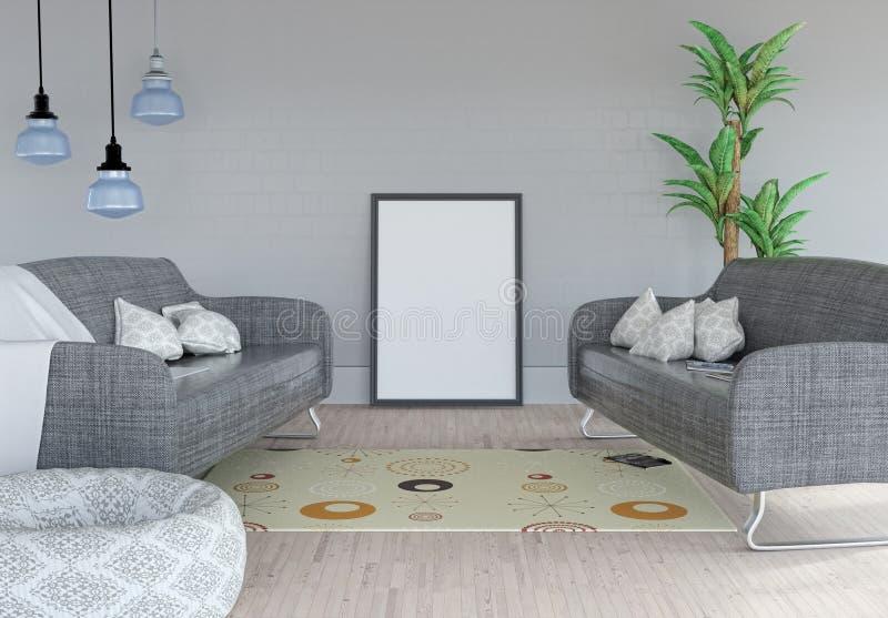 3D anulam a imagem que inclina-se contra uma parede em um interior da sala ilustração stock