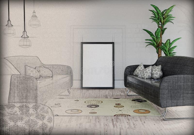 3D anulam a imagem que inclina-se contra uma parede em um interior da sala com ilustração stock