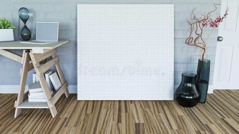 3D anulam a lona que inclina-se contra uma parede em um interior da sala ilustração stock
