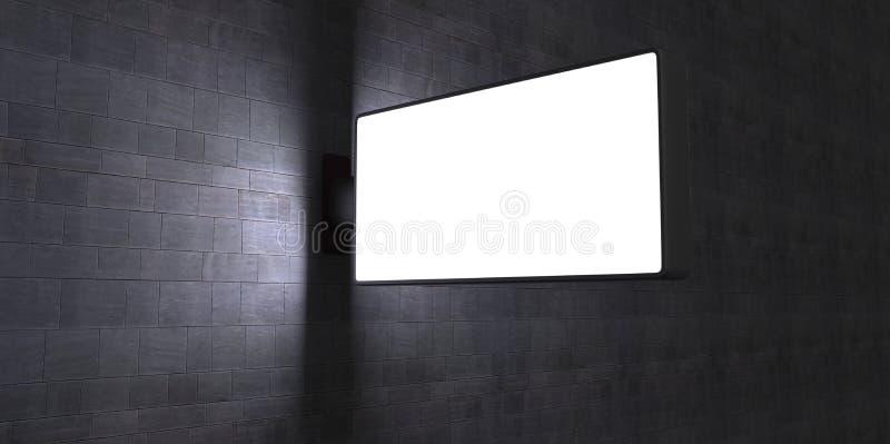 3d anulam o quadro de avisos de propaganda da rua na parede de tijolo na noite no backgroud azul do tijolo ilustração do vetor
