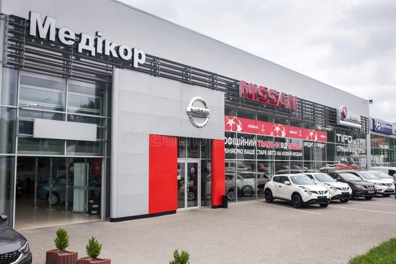 07 d'ao?t 2017 - Vinnitsa, l'Ukraine Salle d'exposition de Nissan images libres de droits
