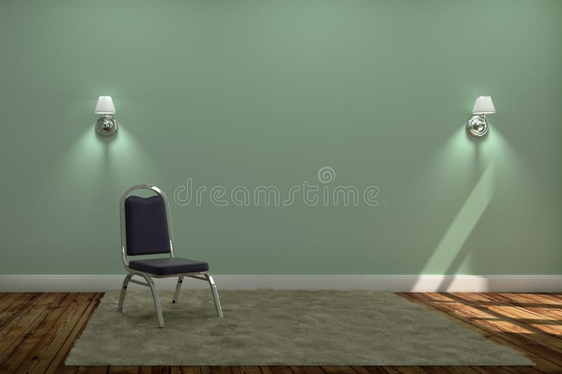 Living Room Interior with chair and carpet with two lamps ,wooden floor on green wall background. 3D rendering stock images