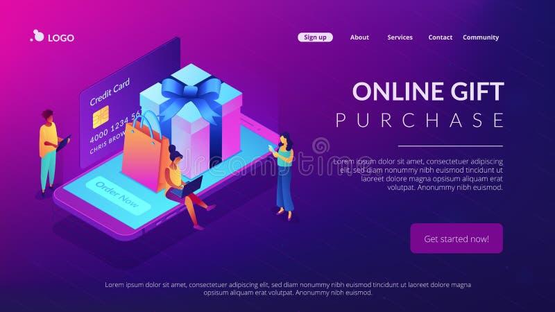 网上礼物购买等量3D登陆的页 皇族释放例证