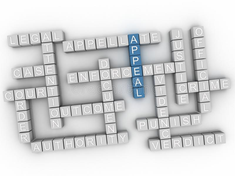 3d Appeal word cloud concept. 3d image Appeal issues concept word cloud background vector illustration