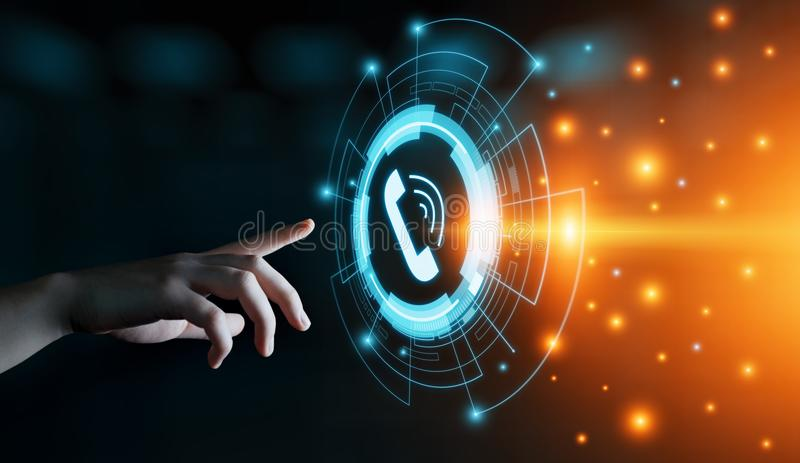 D'appel concept de technologie de service client de centre de soutien aux télécommunications d'affaires maintenant image libre de droits