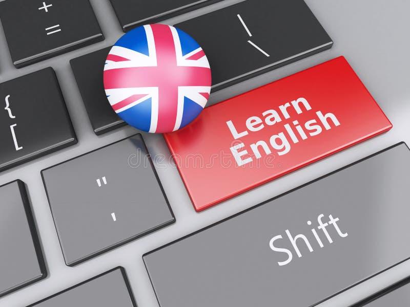 3d aprendem o inglês no teclado de computador Conceito da instrução ilustração do vetor