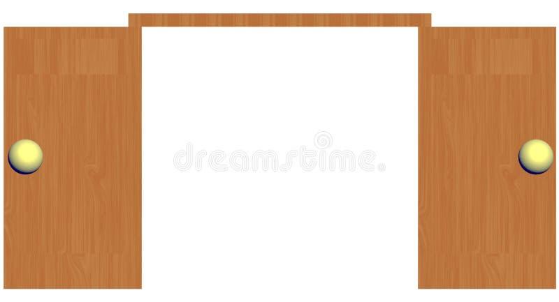 3D aprono la porta di legno con le manopole dorate fotografia stock libera da diritti