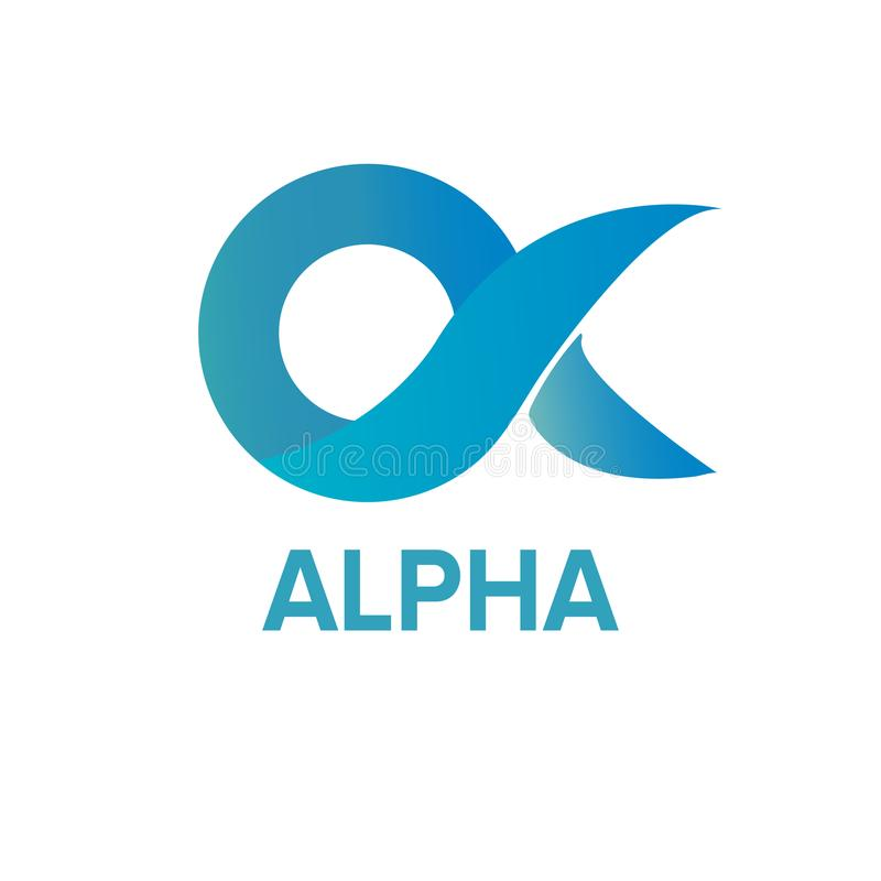3D Aqua Alpha Logo Template illustration de vecteur