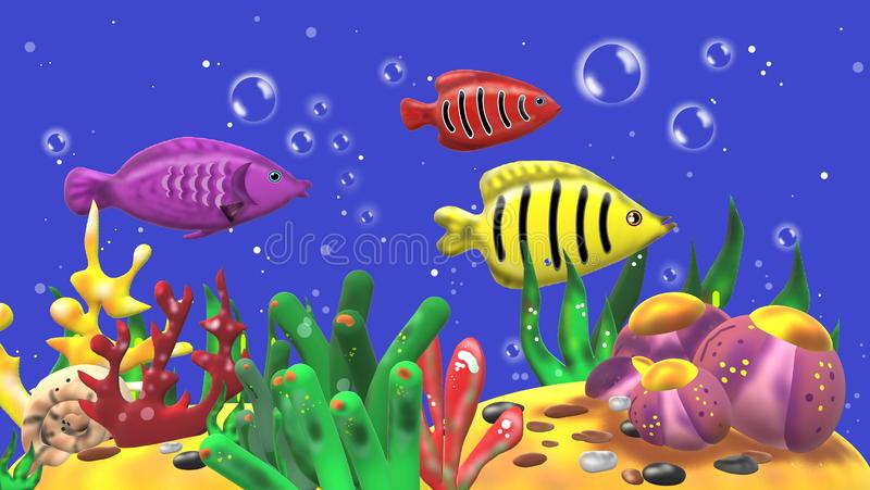 3D aquarium with colorful fishes royalty free stock image