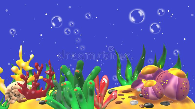 3D aquarium with marine plants but without fishes stock images