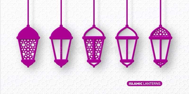 3d arabscy lampiony z tradycyjnymi wzorami ilustracji