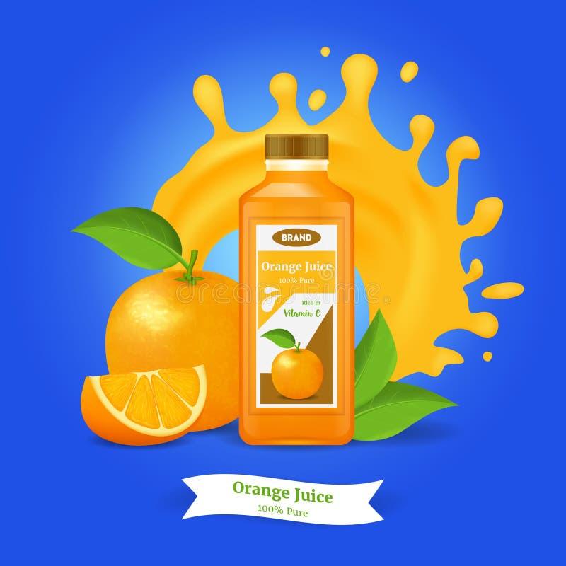 3d arancia dettagliata realistica Juice Ads Vettore royalty illustrazione gratis