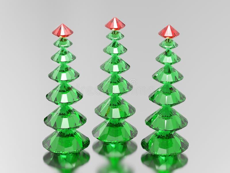 3D arbres de Noël verts de diamant de l'illustration trois avec un s rouge illustration stock