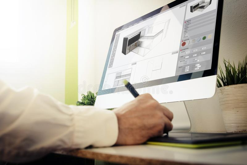 Architect designing a house. 3d architect designing a house. All screen graphics are made up stock illustration