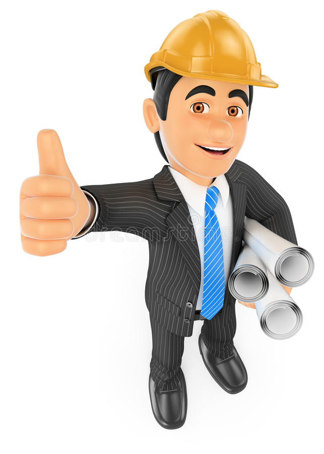 3D Architect with the thumb up and plans. 3d business people. Architect with the thumb up and plans. White background royalty free illustration