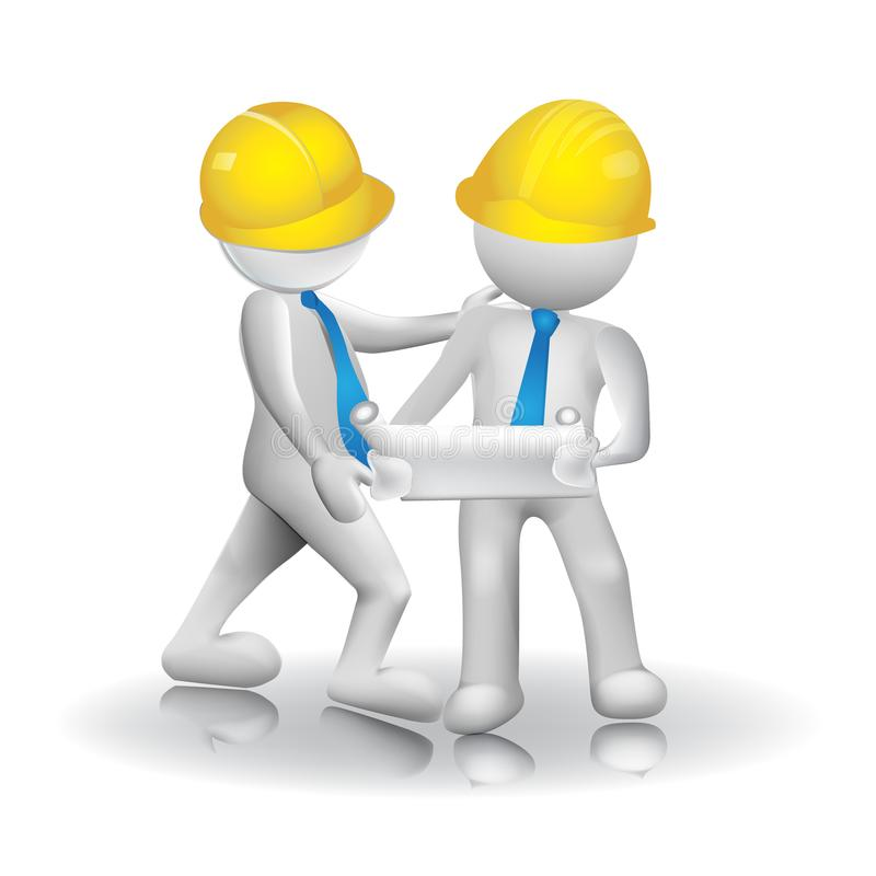 3d Architects workers team icon image logo vector royalty free illustration