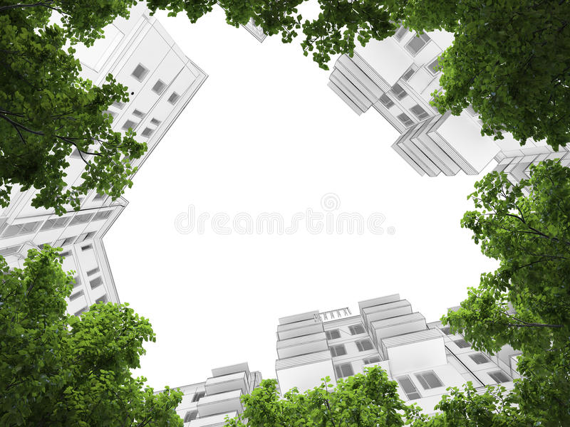 3D architecture abstract vector illustration