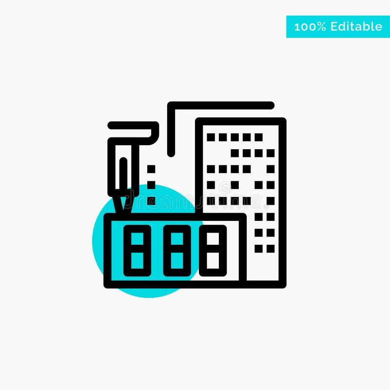 3d, architecture, construction, fabrication, icône à la maison de vecteur de point de cercle de point culminant de turquoise illustration stock