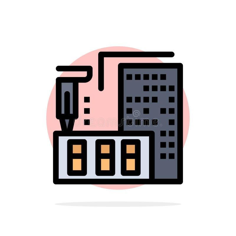 3d, architecture, construction, fabrication, icône plate de couleur de fond abstrait à la maison de cercle illustration de vecteur