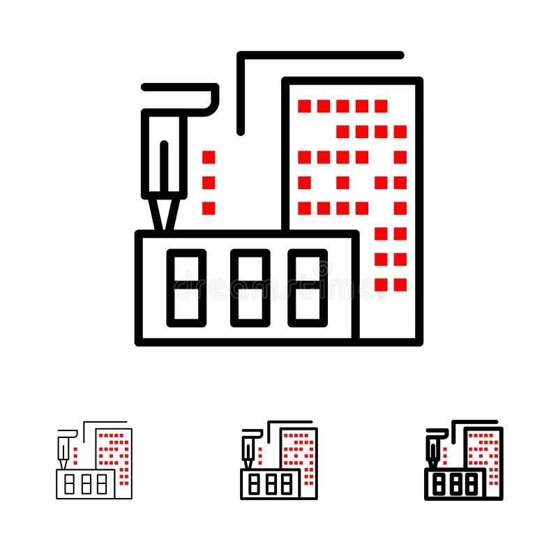 3d, architecture, construction, fabrication, ligne noire audacieuse et mince à la maison ensemble d'icône illustration stock