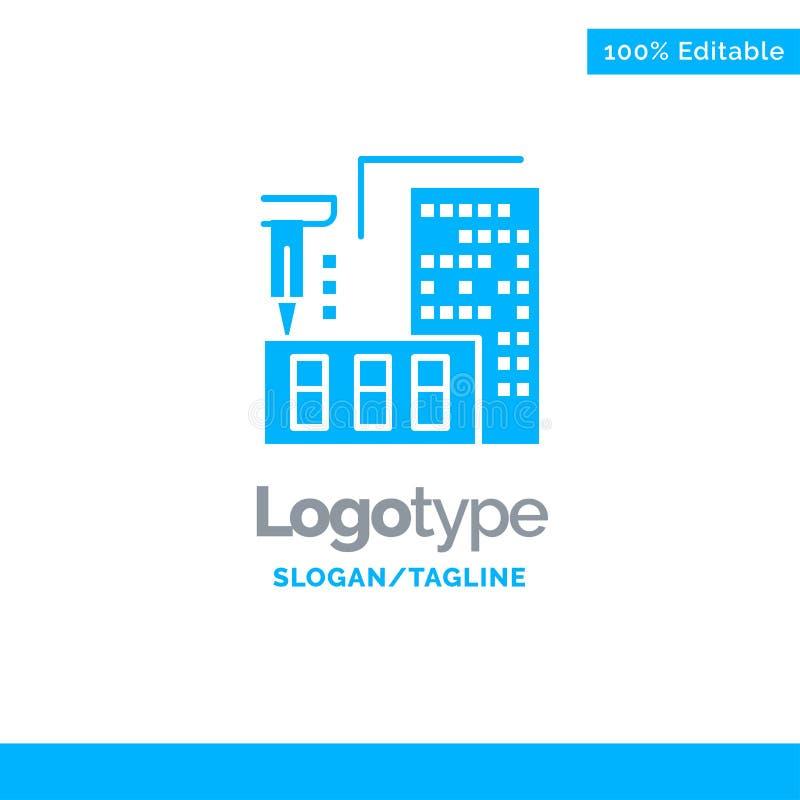 3d, architecture, construction, fabrication, Logo Template solide bleu à la maison Endroit pour le Tagline illustration de vecteur