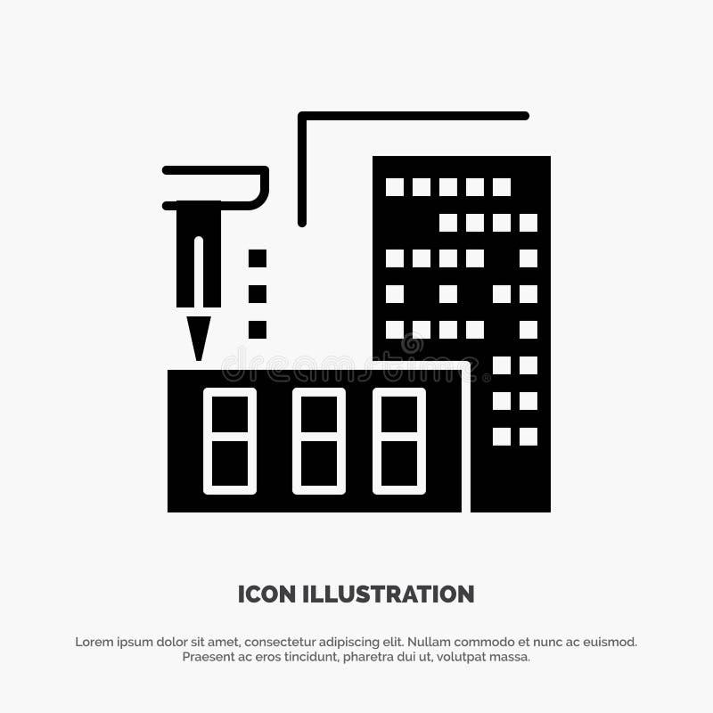 3d, architecture, construction, fabrication, vecteur solide à la maison d'icône de Glyph illustration libre de droits